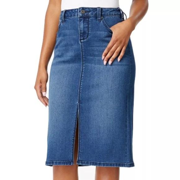 0d2b34989c Earl Jeans Skirts   Macys Slit Front Denim Skirt 12   Poshmark